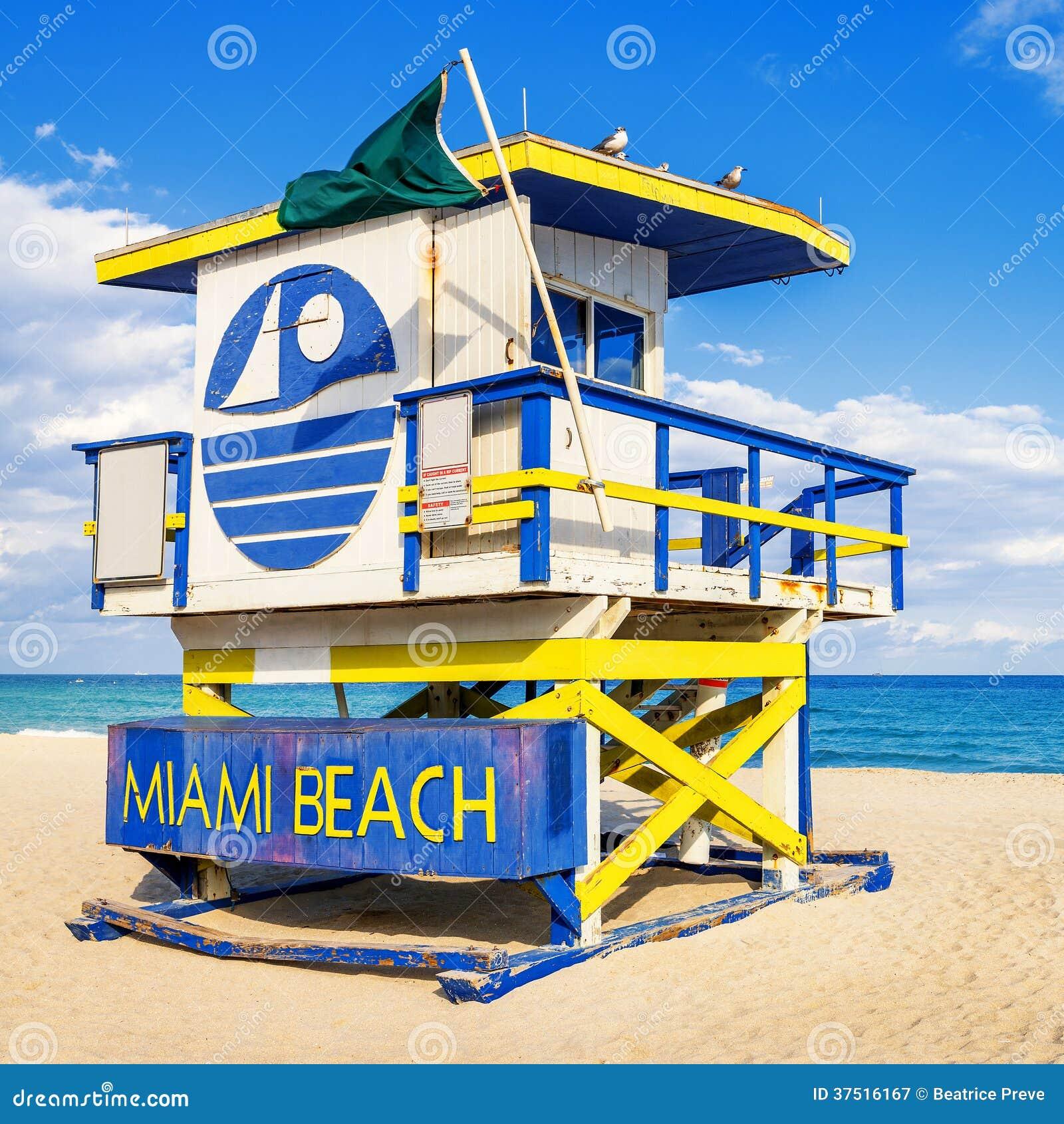 Tower House Miami Beach: Lifeguard Tower, Miami Beach, Florida Royalty Free Stock