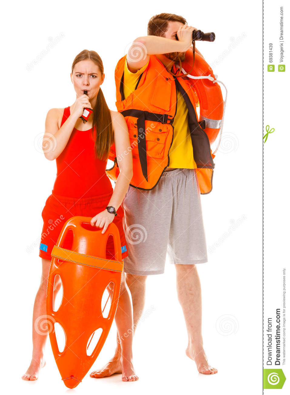 fad05203b7d9 Lifeguards In Life Vest With Ring Buoy Whistling. Stock Image ...