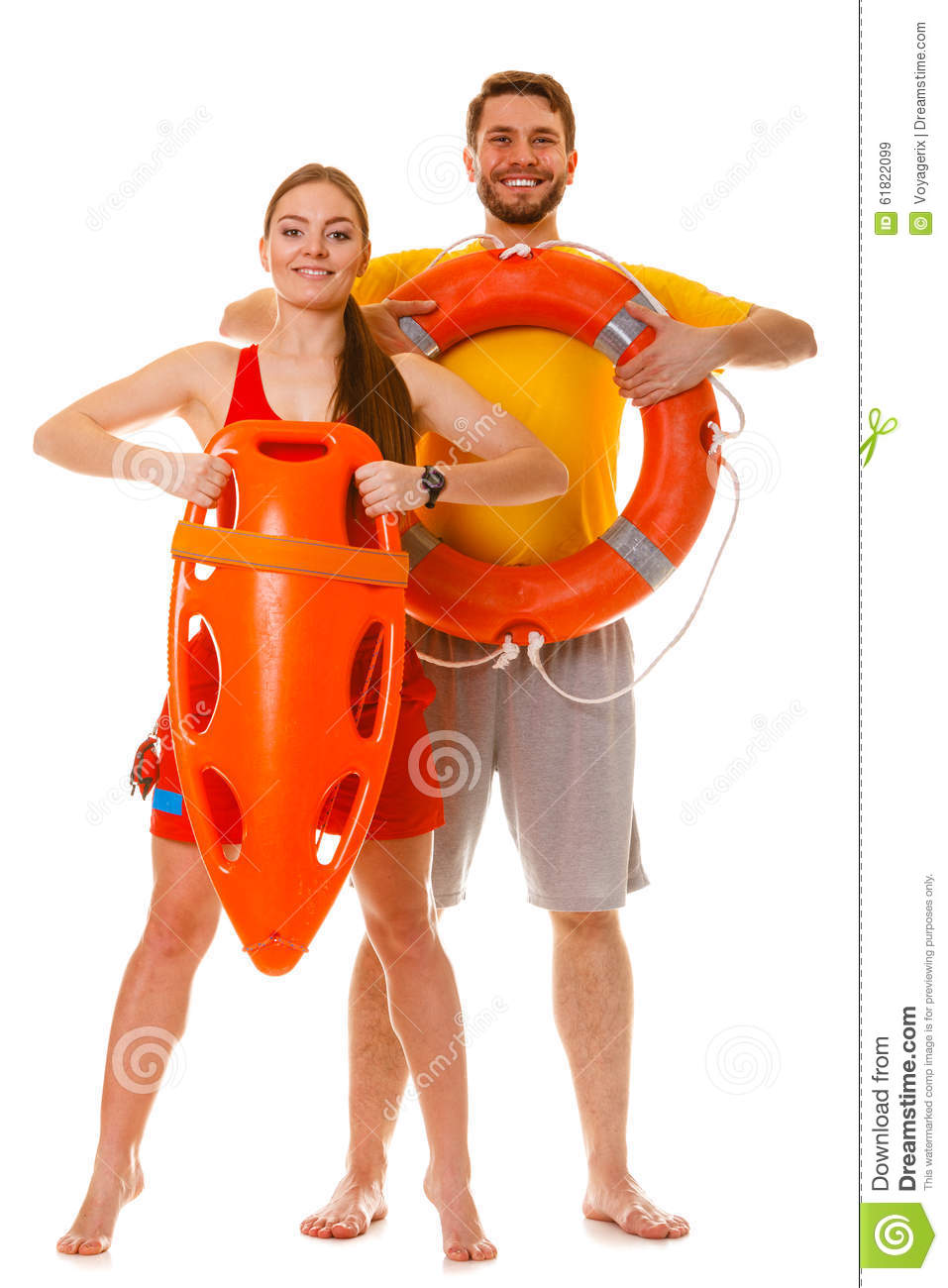 Lifeguards With Rescue And Ring Buoy Lifebuoy Stock Photo Image 61822099