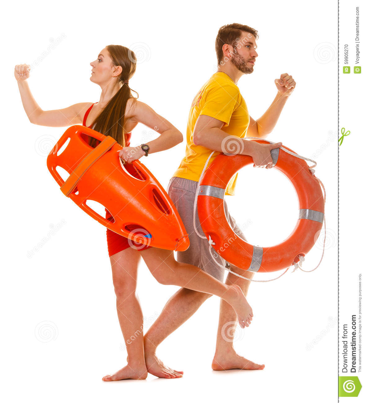 Lifeguards Running With Rescue Ring Buoy On Duty Stock Photo Image 59905270