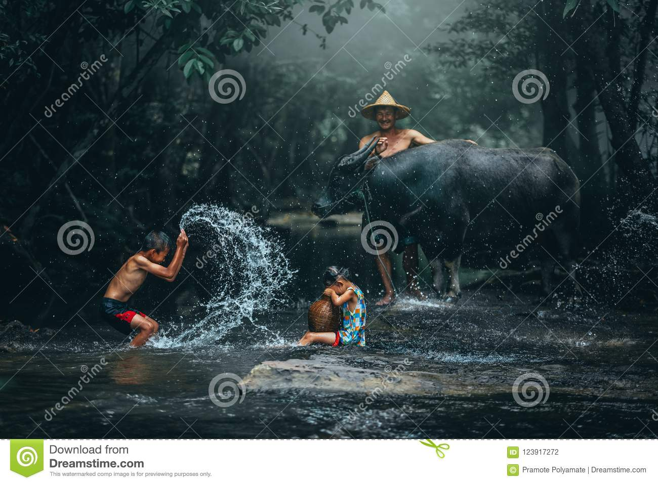 Lifestyle of family farmer at rural Asia. Traditional life of fa
