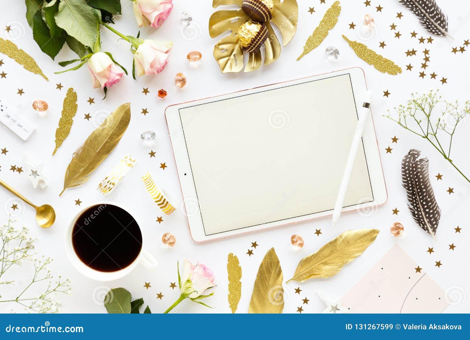 Golden Girly Decoration On White Stock Image Image Of