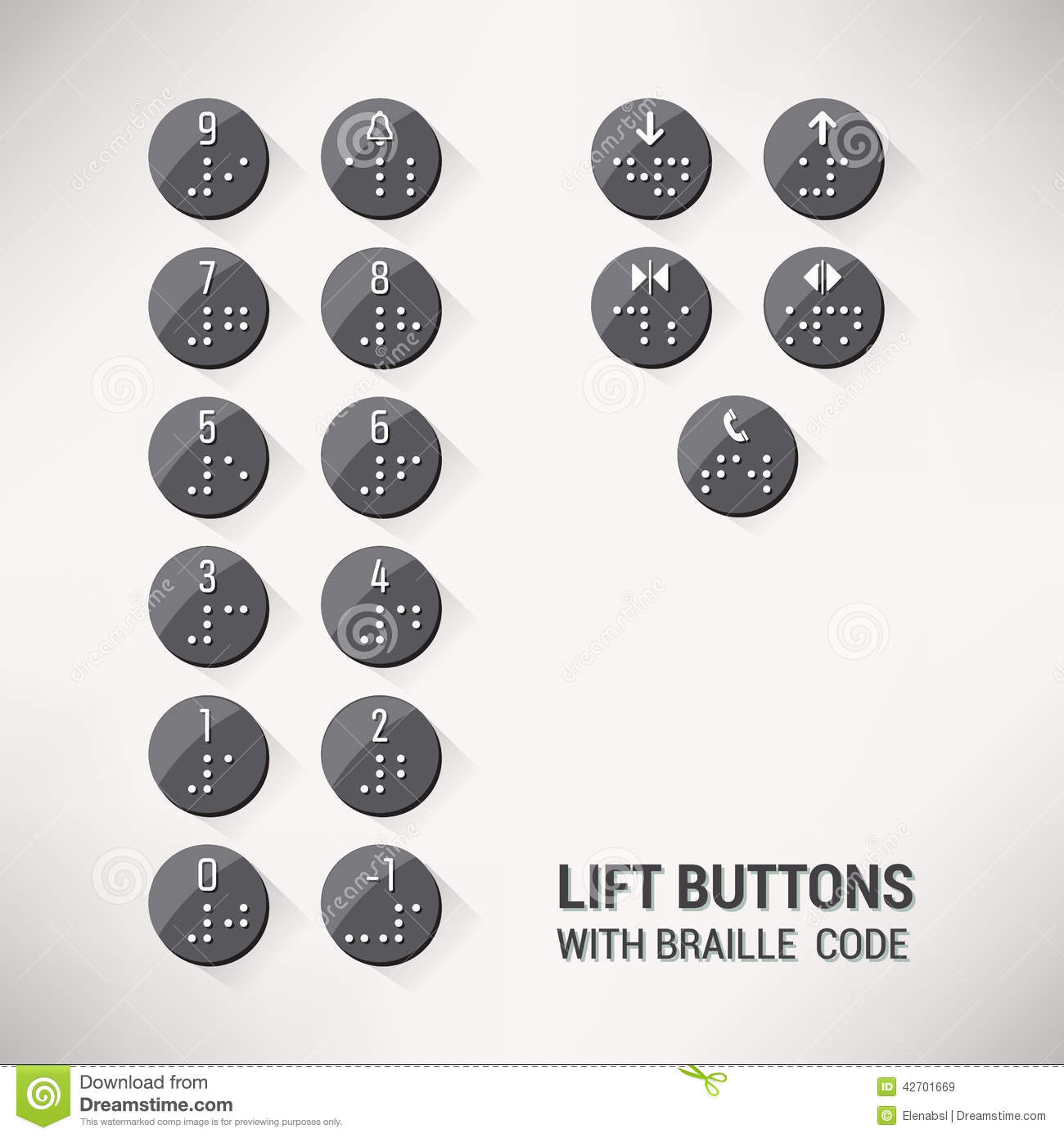 Lift Buttons With Braille Code Stock Vector Image 42701669
