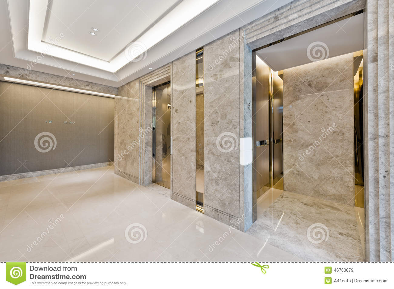 Lift Lobby In Beautiful Marble Stock Image Image Of