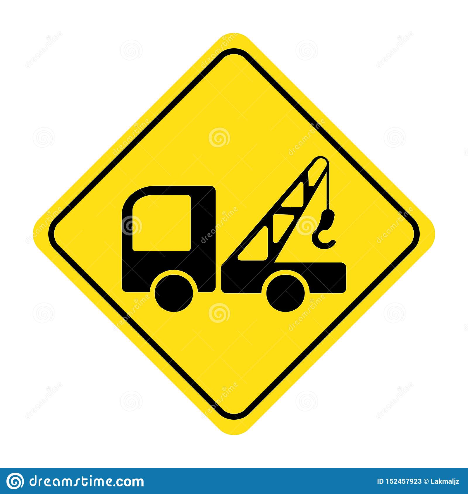 Lifting Crane Truck Icon On Yellow Background Stock Vector