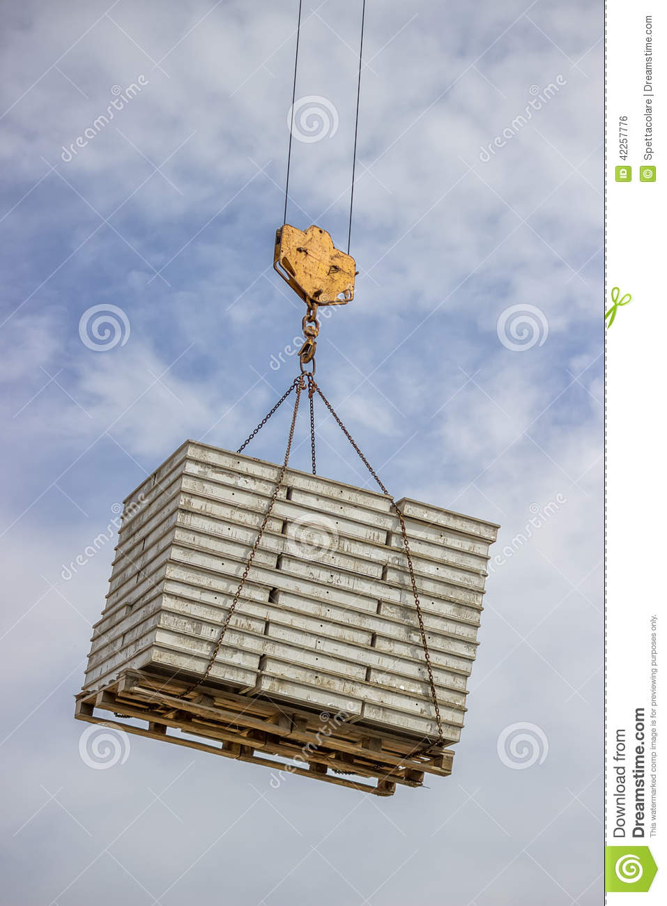 Lifting Pallet With Formwork Elements By Crane Stock Photo