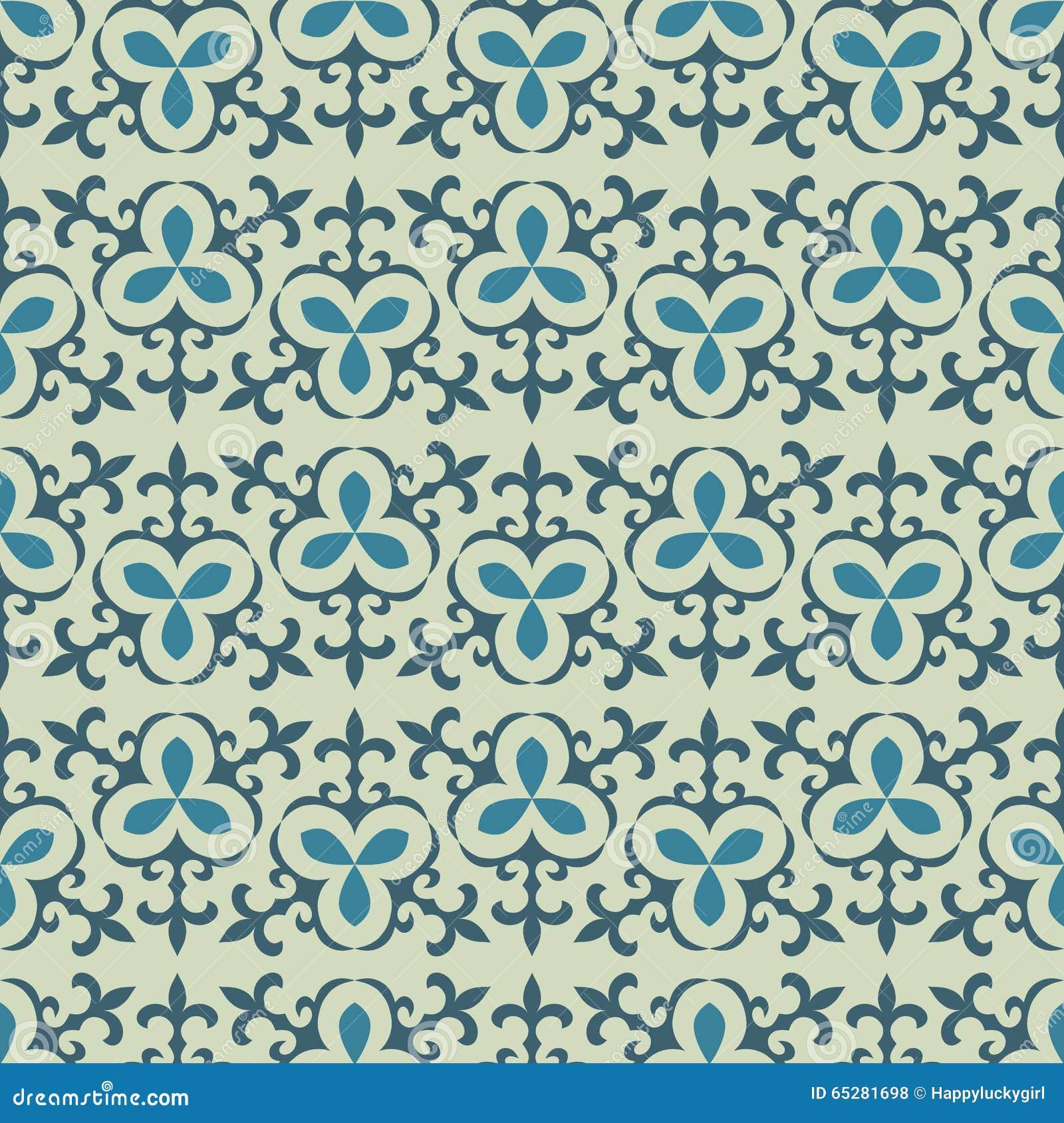 Light сoloured Kazakh, Asian, floral seamless patterns