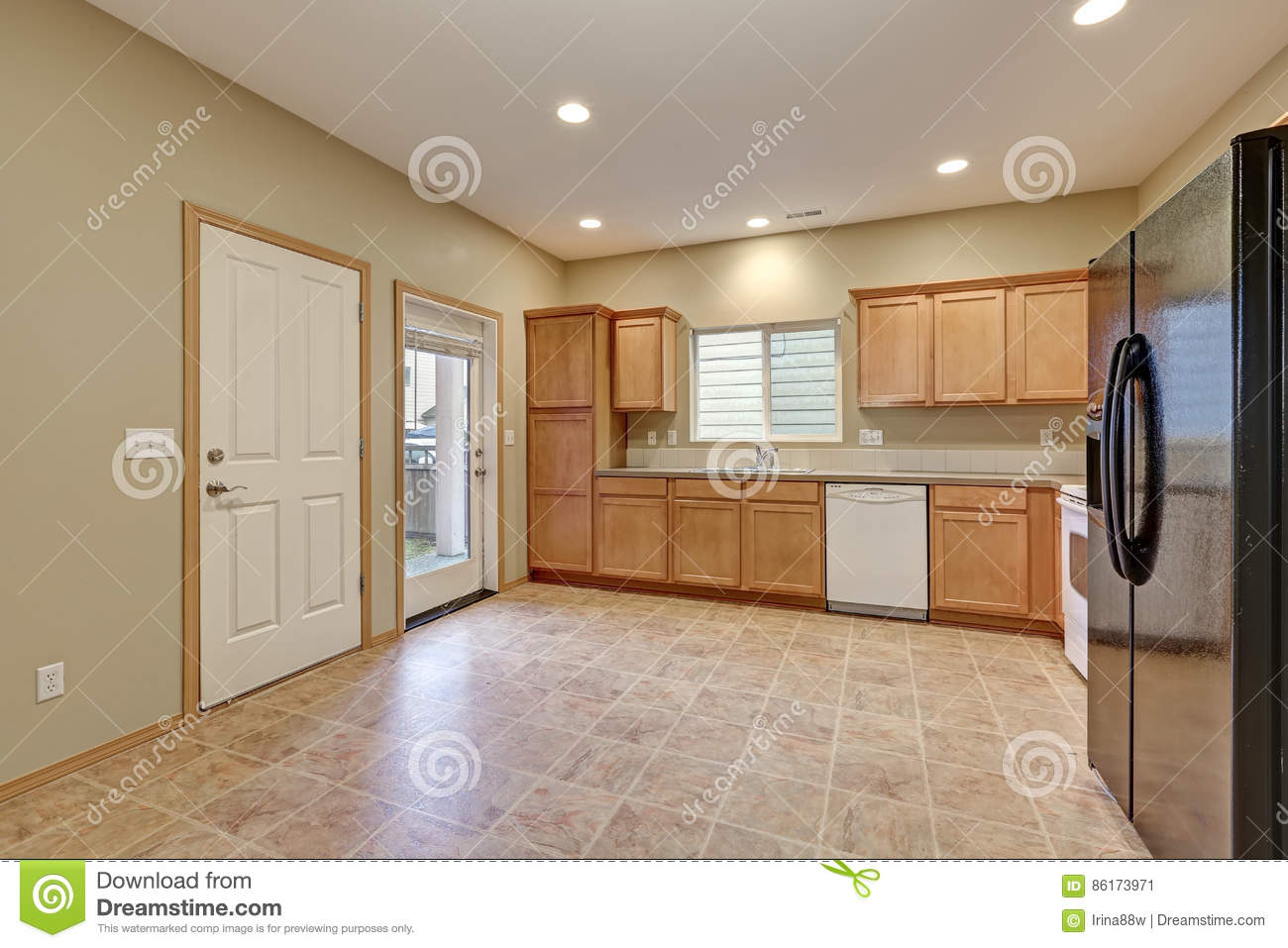 Light And Airy Kitchen Room With Beige Walls Stock Image Image Of
