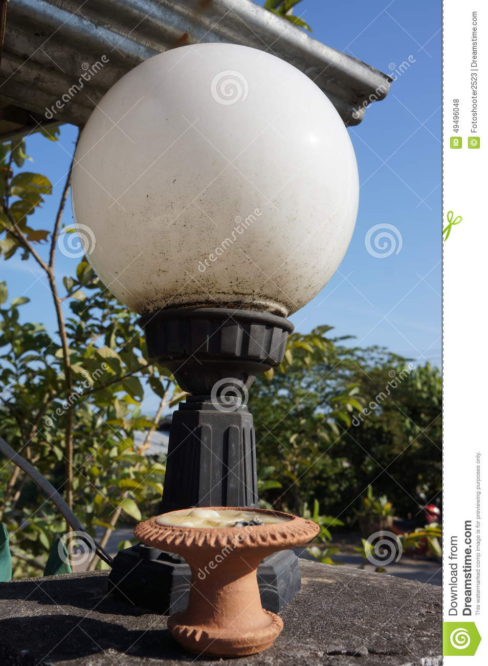 Light Ball On Wall In Chiangmai Stock Photography
