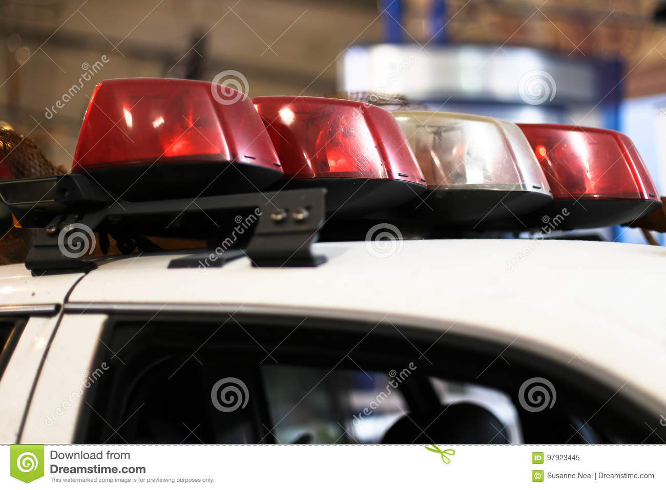 Light Bar On Police Car Stock Image Image Of Attached