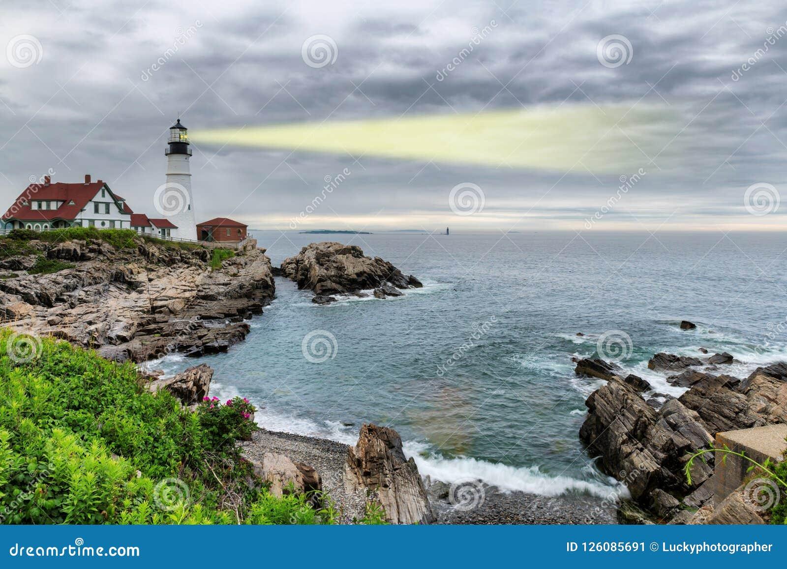Light beam of Portland Lighthouse in Cape Elizabeth, Maine, USA