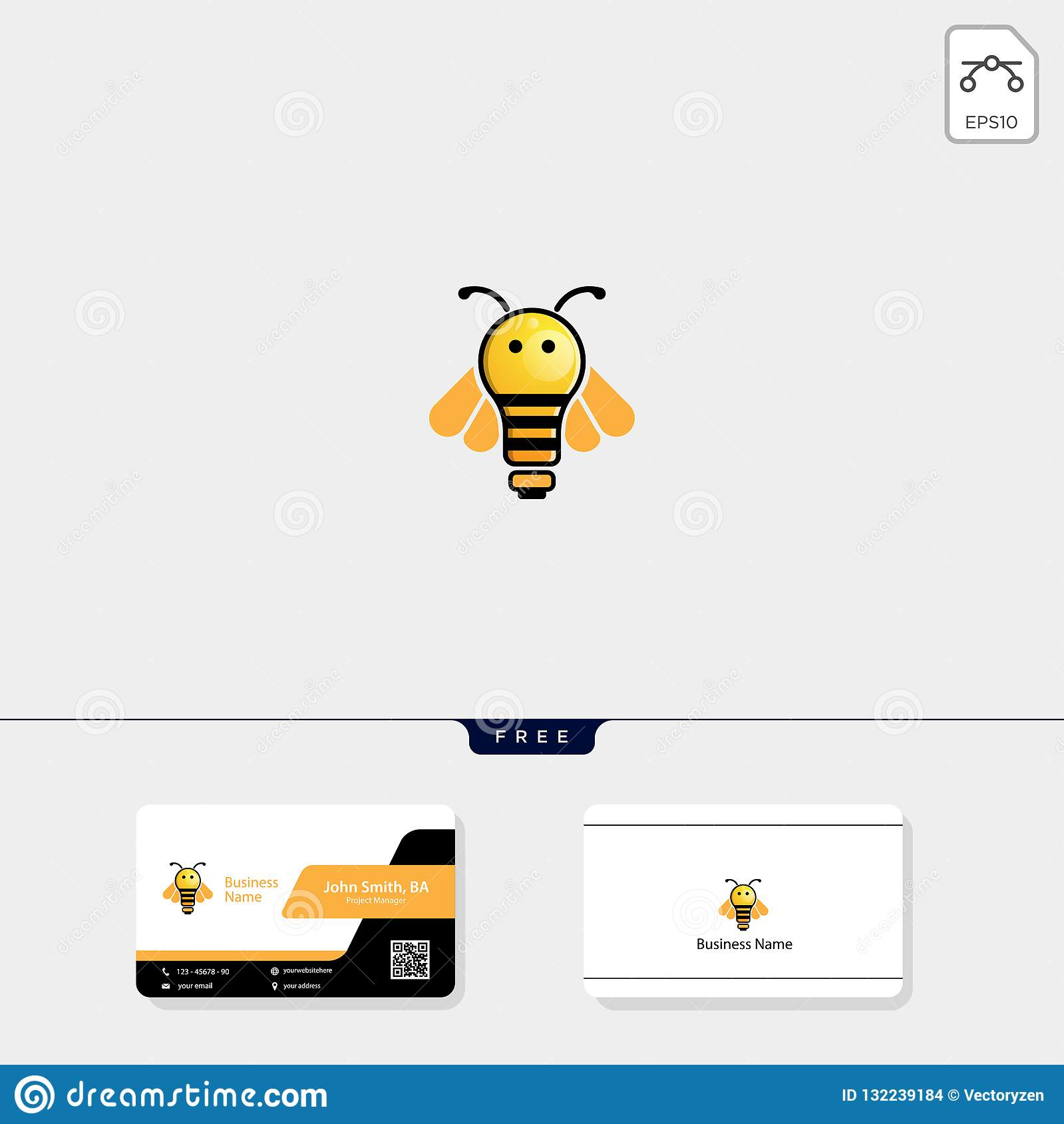 light, bee, flying bee logo template vector illustration, free business card design