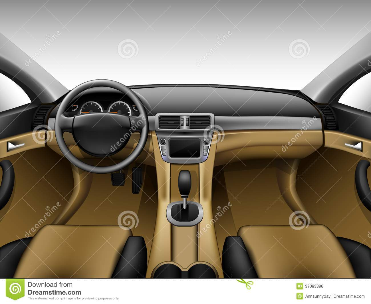 light beige leather car interior stock vector image 37083896. Black Bedroom Furniture Sets. Home Design Ideas