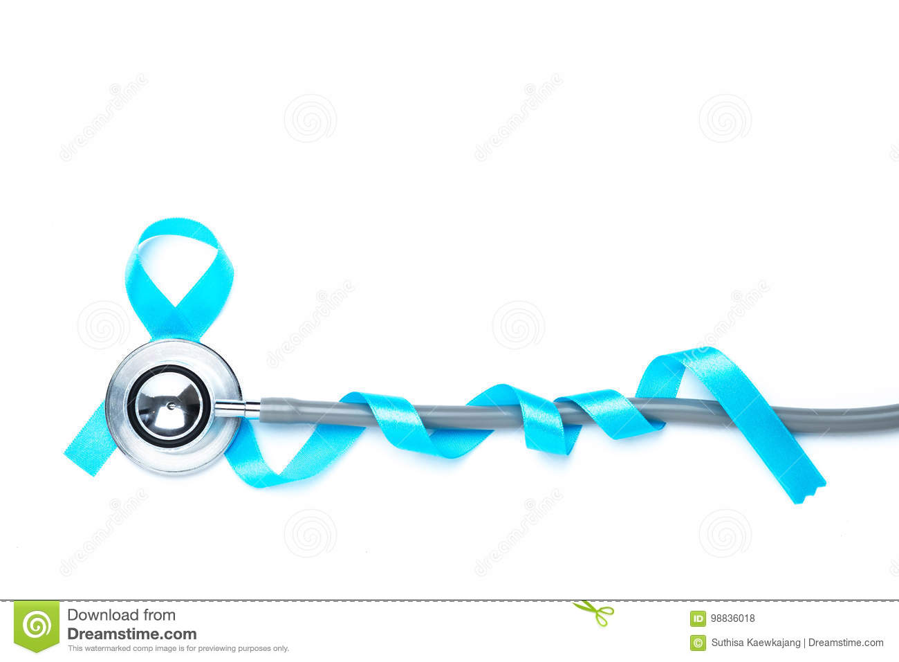 Light blue awareness ribbon and a stethoscope for prostate cance