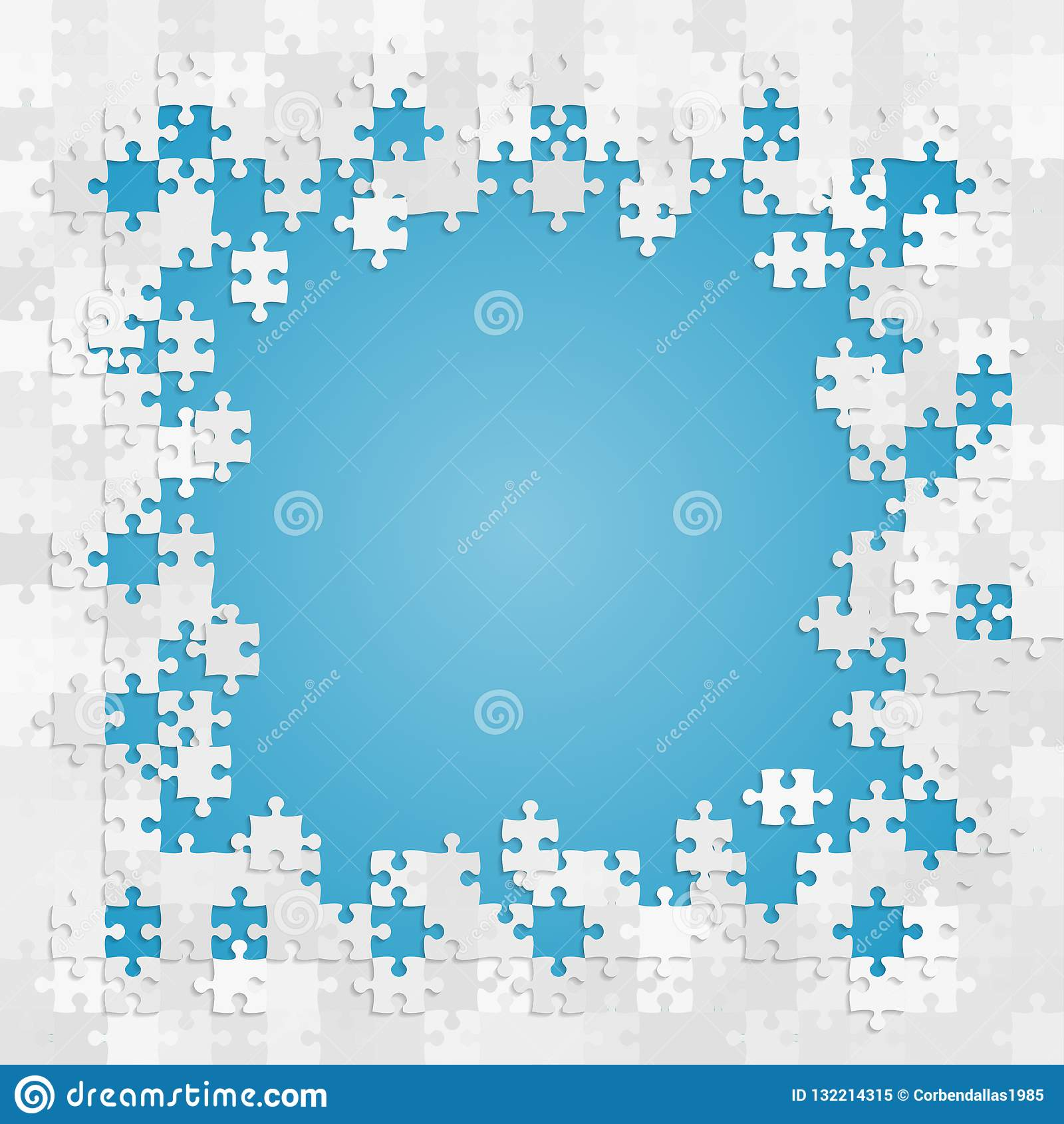 The Blue Puzzle Frame  Puzzle Pieces Banner   Stock Vector
