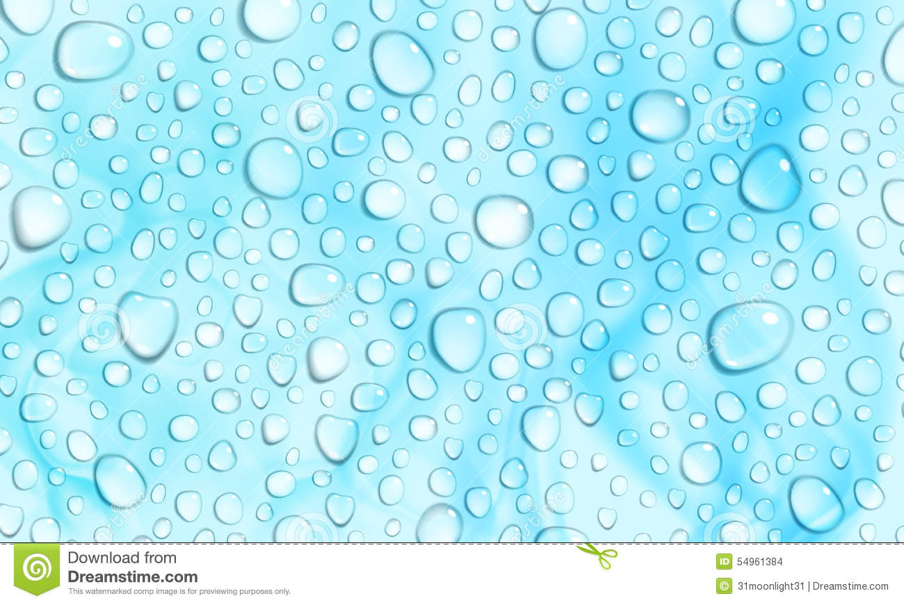 Light Blue Background Of Water Drops Stock Vector