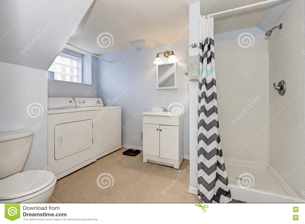 Bathroom Lights Usa light blue bathroom interior with laundry appliances stock photo