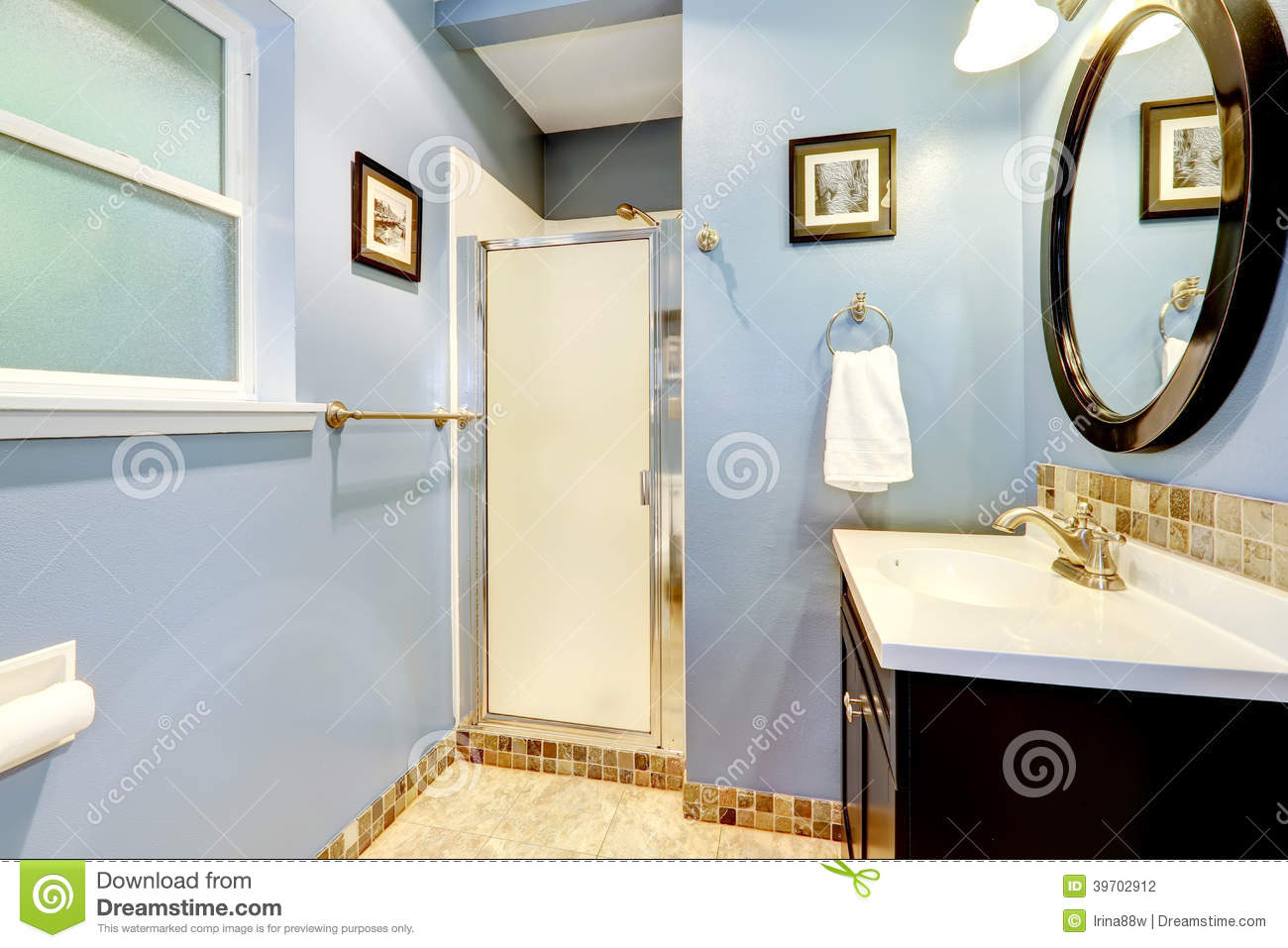 Light Blue Bathroom With Tile Trim Stock Photo - Image of real ...