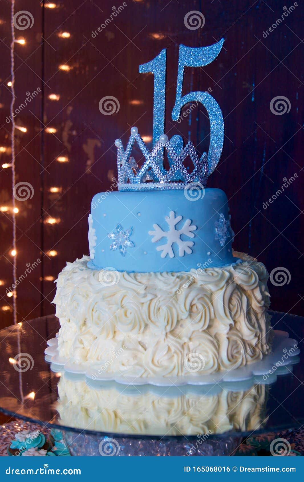 Pleasing Light Blue 15 Cake Stock Photo Image Of Light Crown 165068016 Funny Birthday Cards Online Elaedamsfinfo