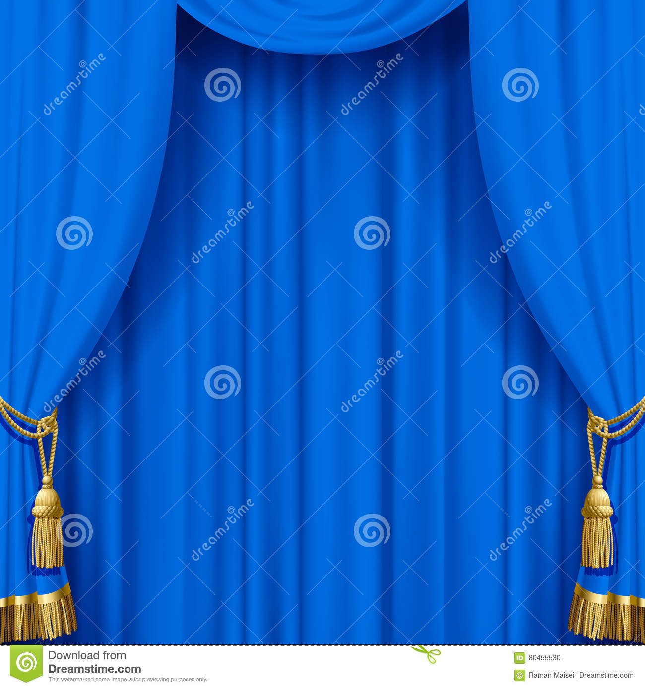 Blue curtain backdrop - Light Blue Curtain With Gold Tassels