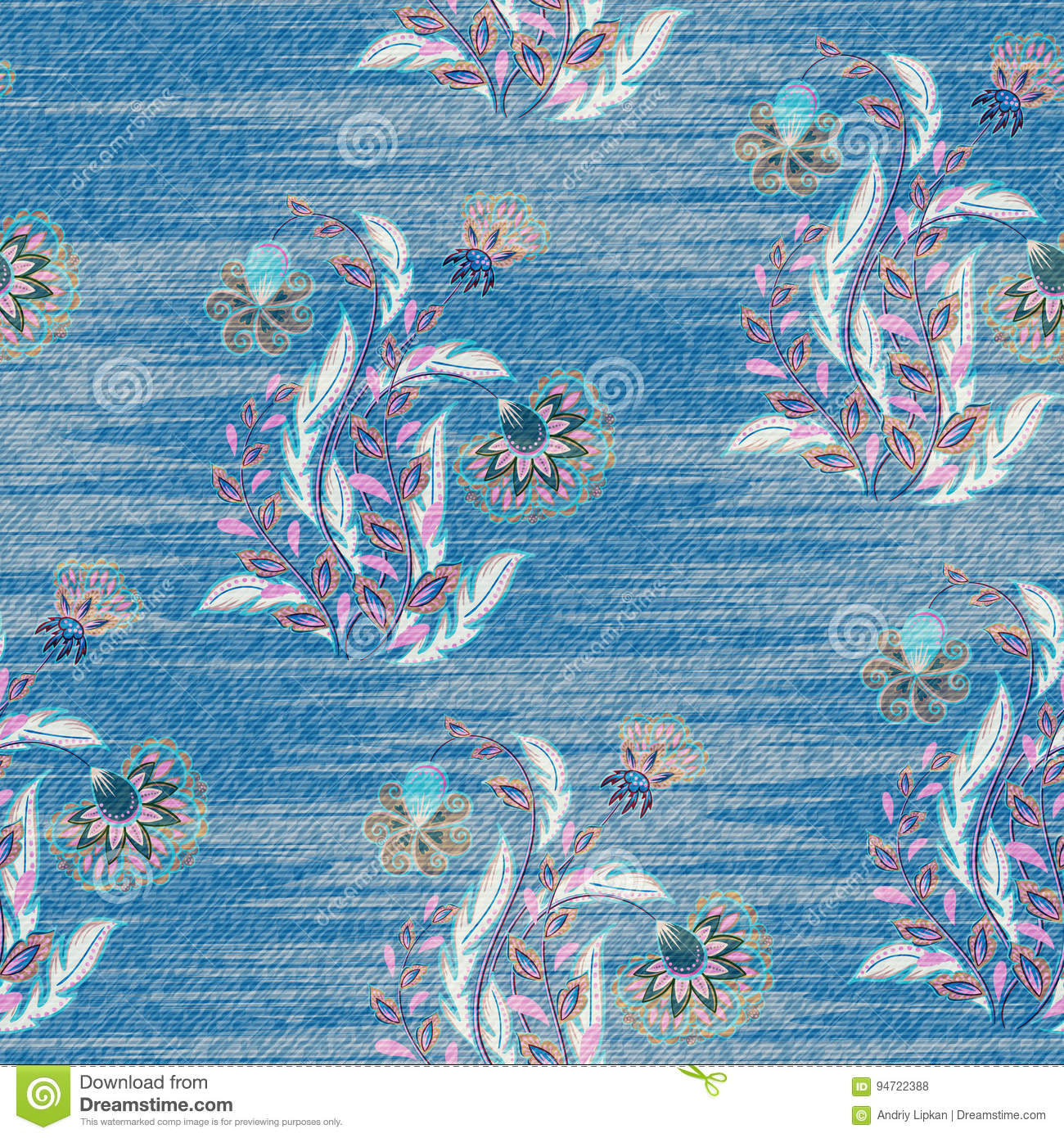 Light blue denim with colorful floral pattern. Beautiful ornamental floral seamless background. Hand draw eastern