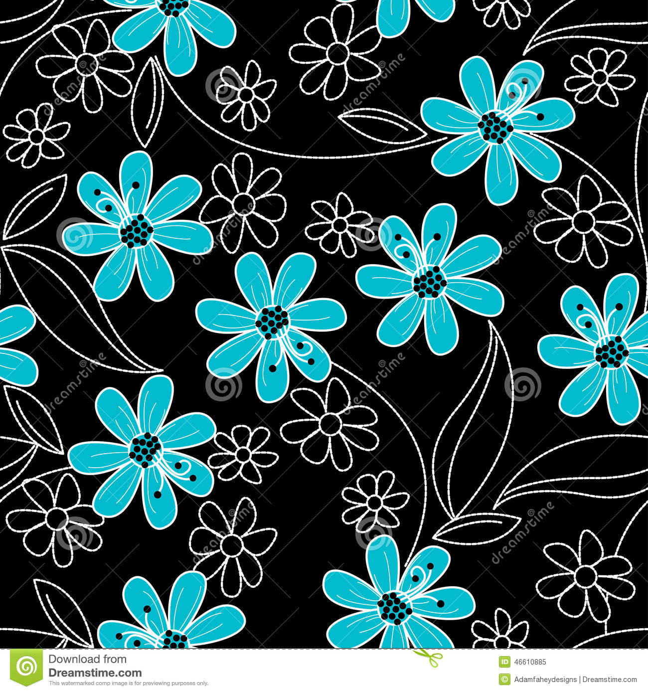 Light Blue Flowers On Black And White Embroidery In A