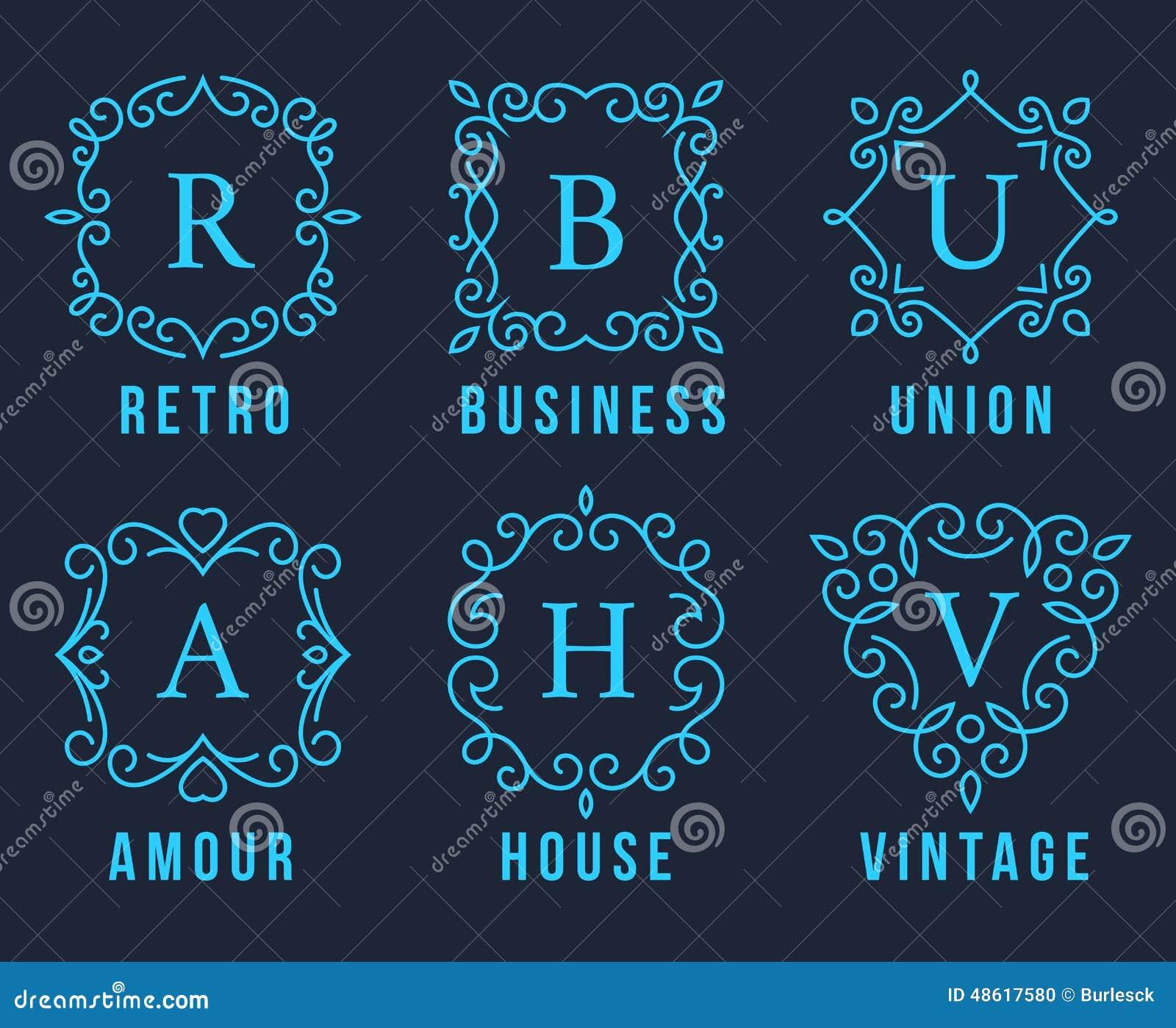 Light blue monogram logos set stock vector image 48617580 for Monogram homes floor plans
