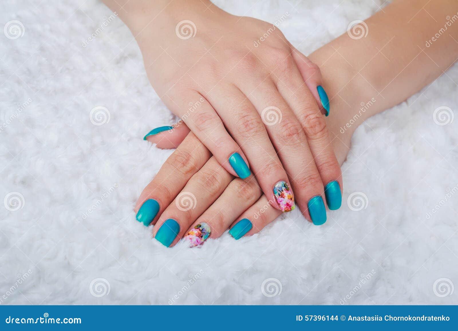 Light Blue Nail Art Stock Photo Image Of Light Hand 57396144
