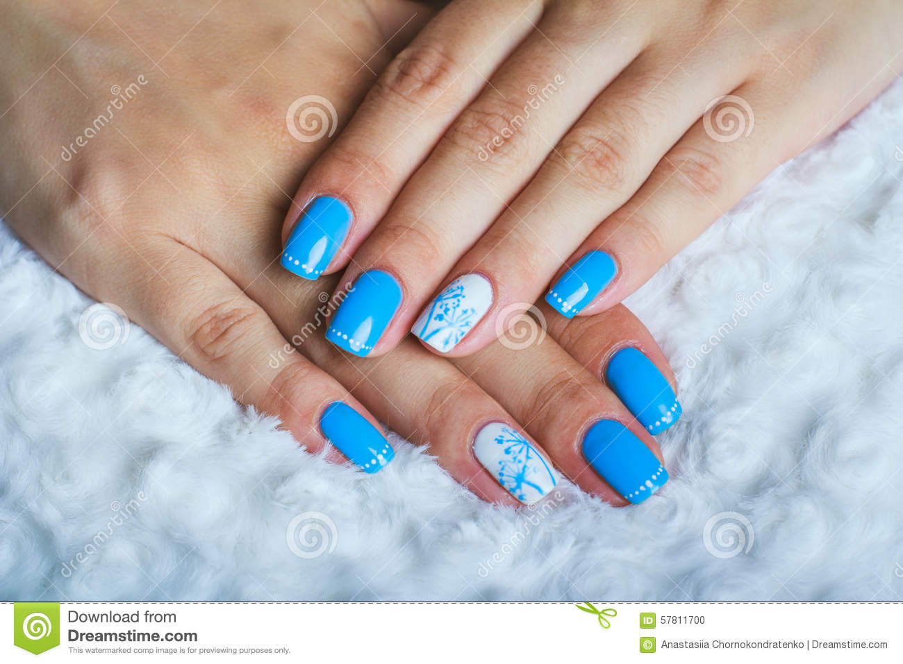 Light Blue Nail Art Stock Photo Image Of Hand Beautiful 57811700