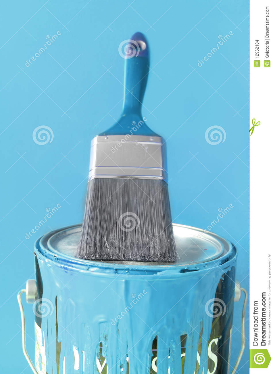Light Blue Paint And Brush Stock Images Image 12962104