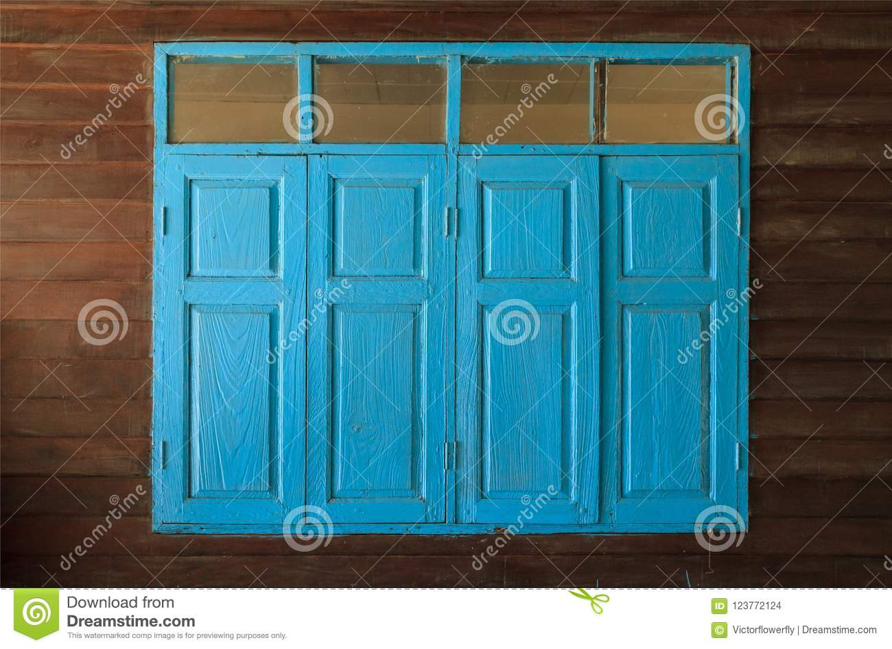 Elegant Light Blue Painted Vintage Retro Wooden Windows And Panes, Home Interior  Architectural Design Against Plain Tropical Dark Brown Textured Wood Panel  Board ...
