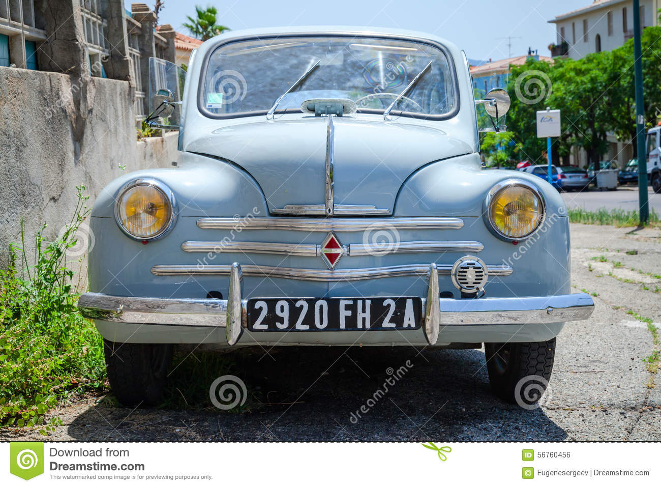 light blue renault 4cv old
