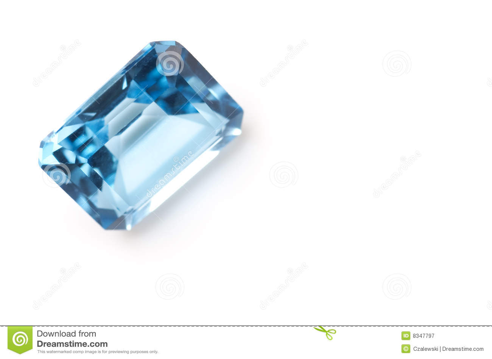 Light blue saphire isolated on white background