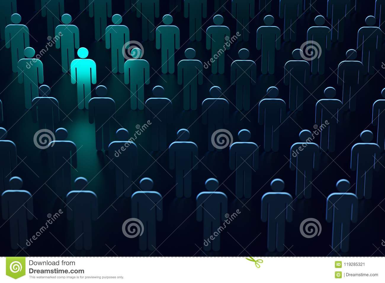 Light blue silhouette of a person as symbol of freedom and protection. The leader of secure technologies. 3D rendering