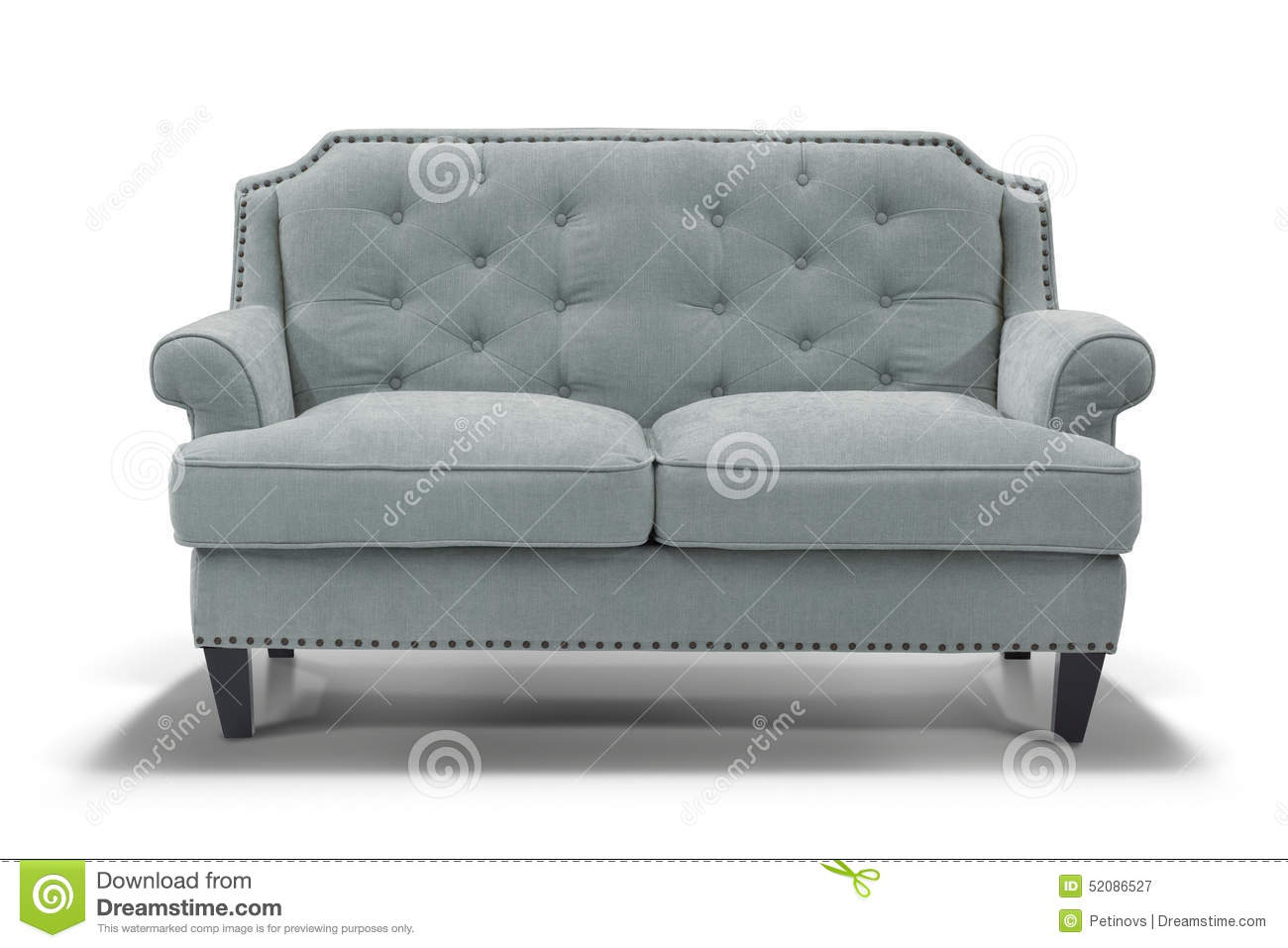 Light Blue Sofa Front View Stock Photo Image 52086527