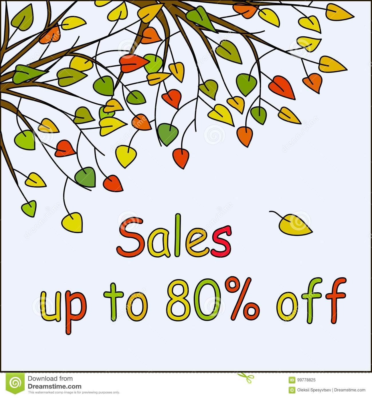 Light blue square background with hand drawn colorful autumn fallen leaves