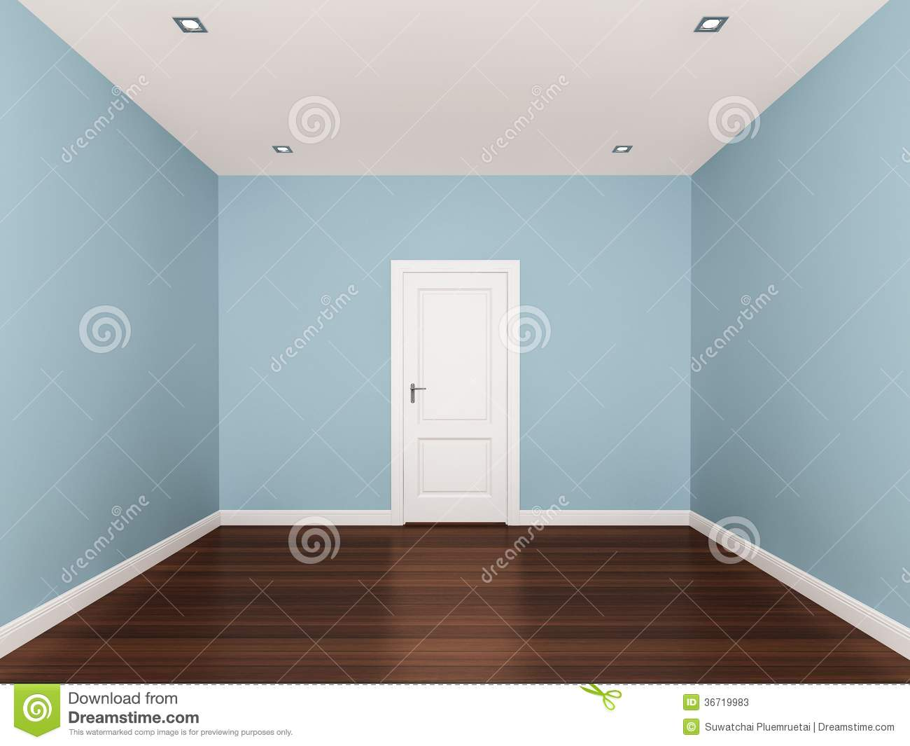 empty room blue light stock illustration - image: 70790548
