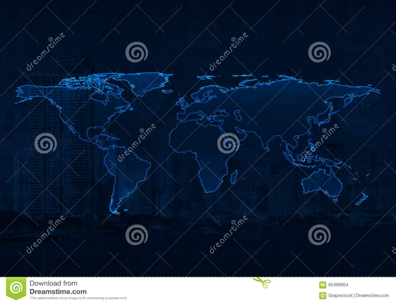 Light blue world map on city and business graph background elem light blue world map on city and business graph background elem gumiabroncs Gallery