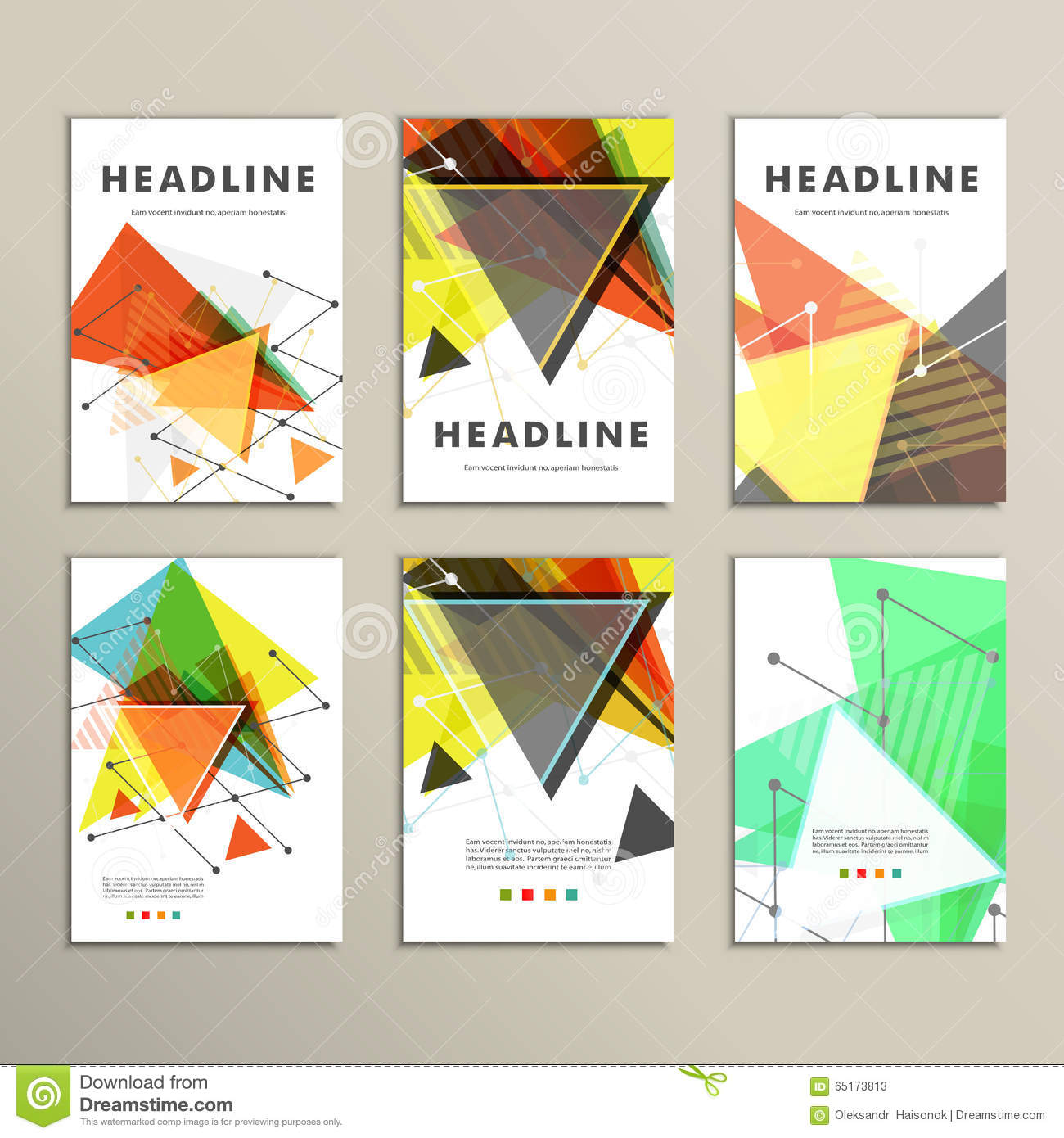 Book Cover Illustration Composition : Light book cover abstract vector composition of triangles
