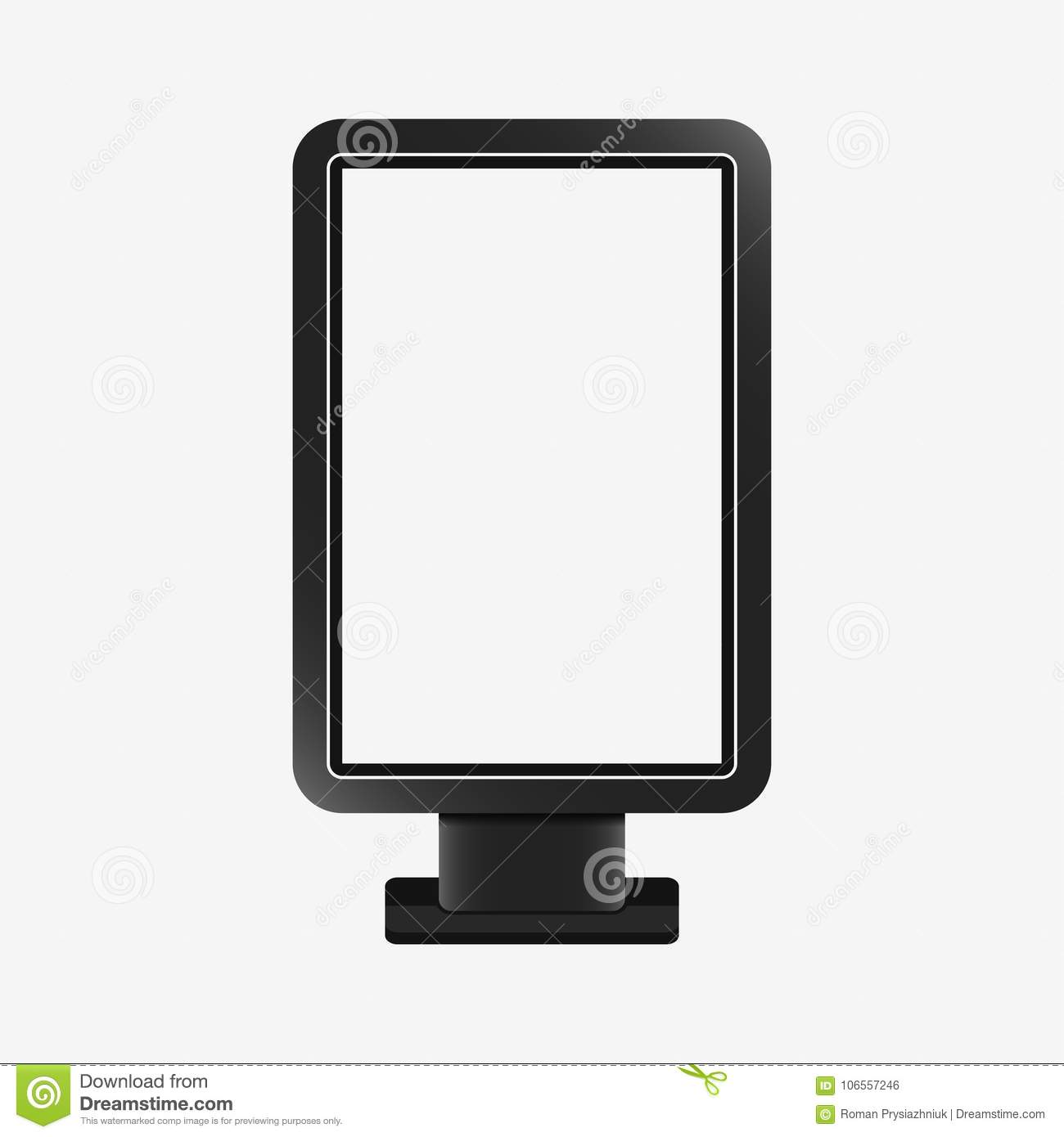 Light box - realistic mockup. Blank template of citylight. Outdoor advertising stand board, vertical billboard. Vector.