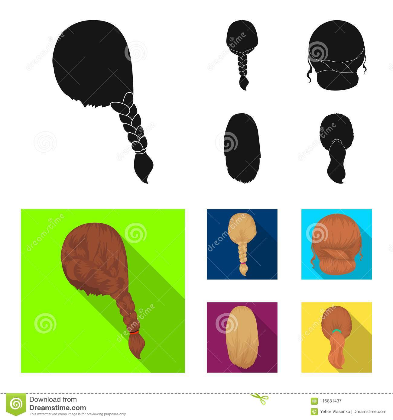 Light braid, fish tail and other types of hairstyles. Back hairstyle set collection icons in black, flat style vector