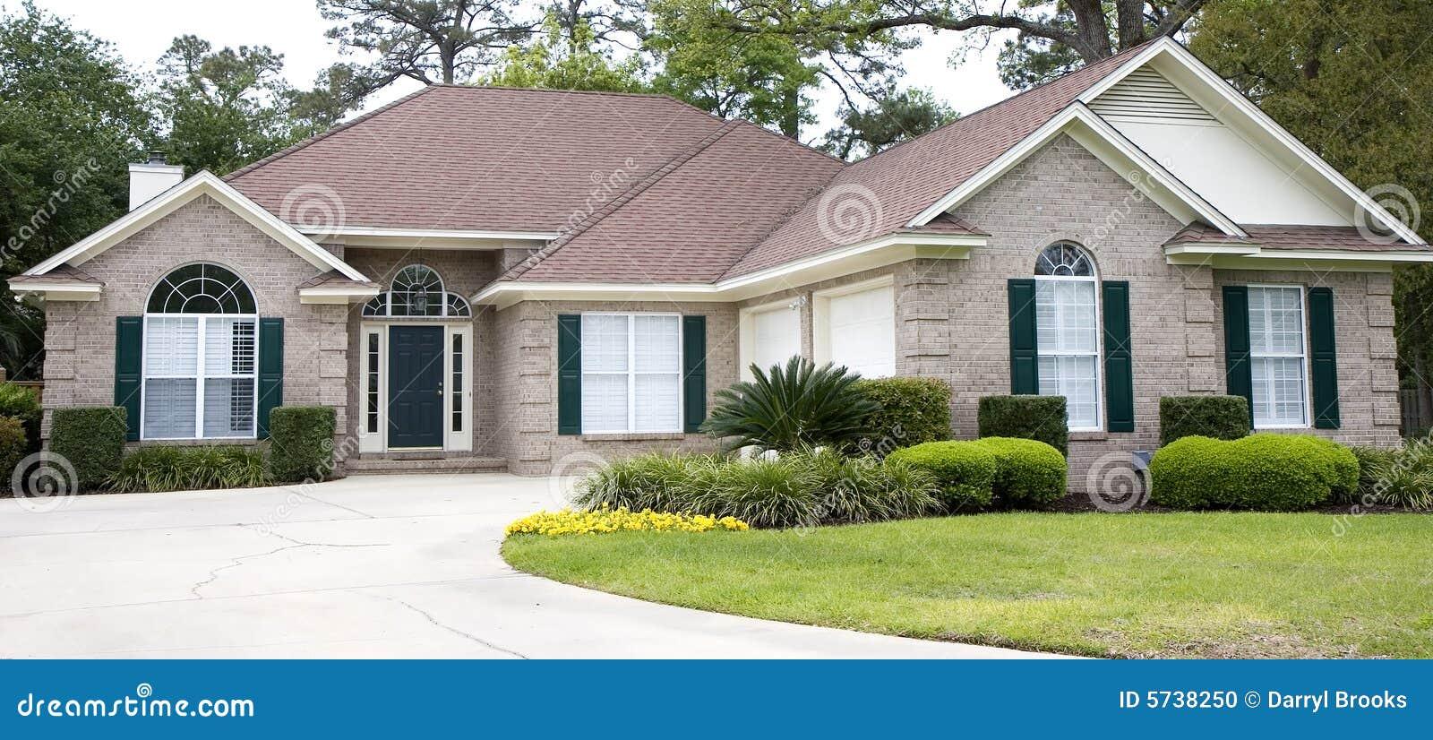 Light Brick House Cracked Drive Stock Photo Image 5738250