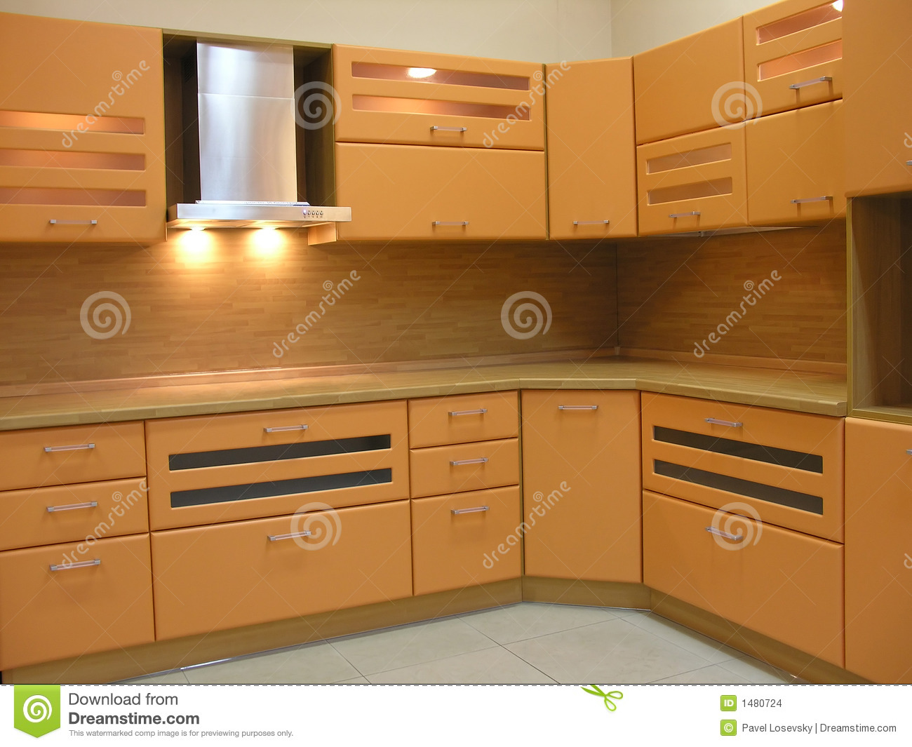 Light Brown Kitchen Stock Images Image 1480724