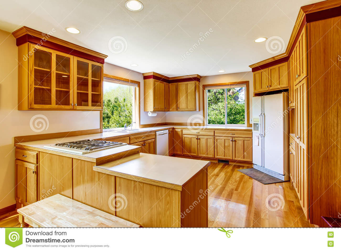 Light Brown Kitchen Cabinets White Appliances And Hardwood