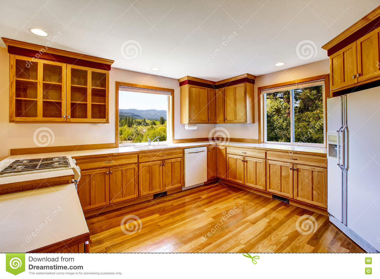 Light Brown Kitchen Cabinets White Appliances And
