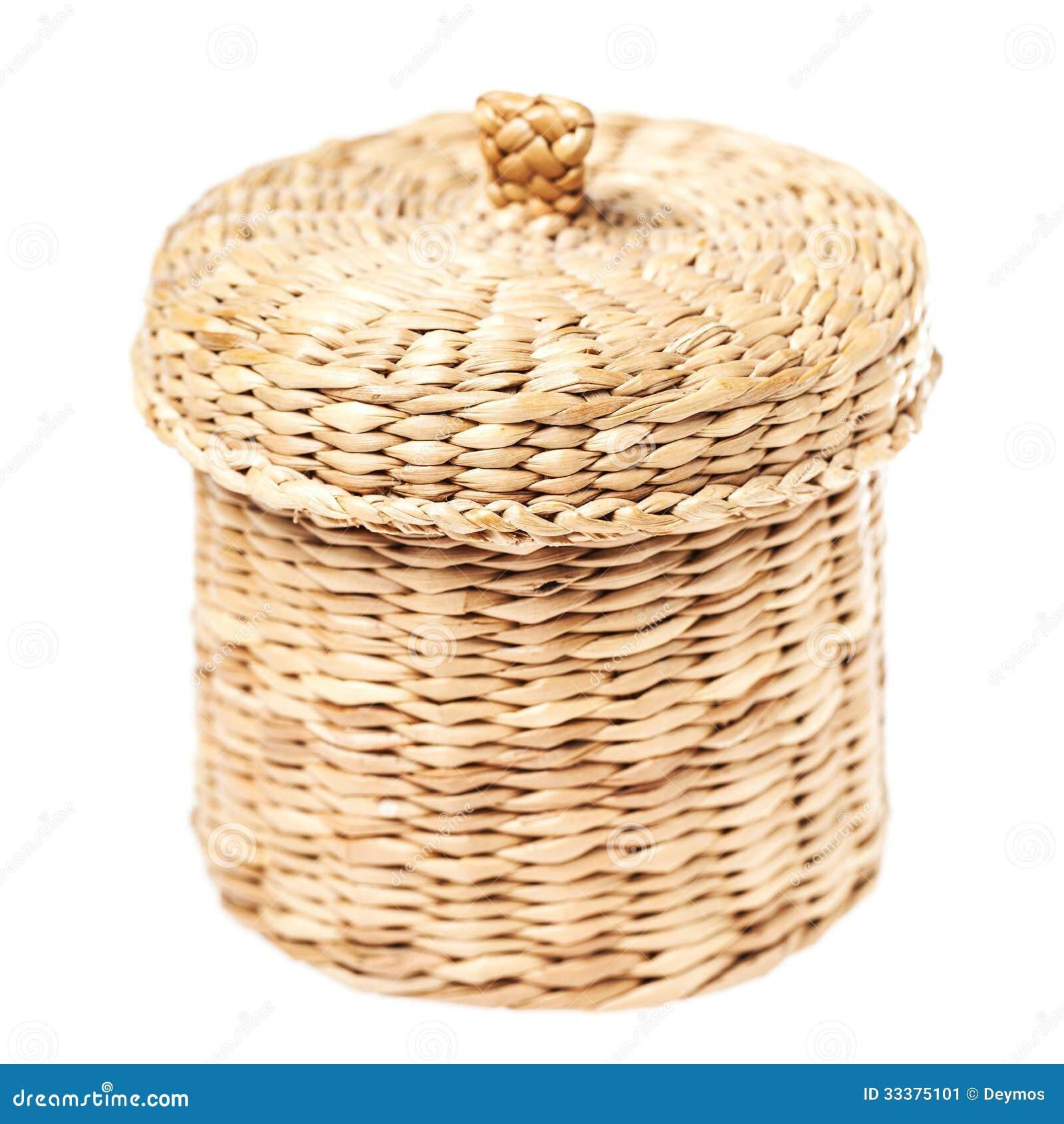 light brown wicker basket with closed lid stock image image 33375101. Black Bedroom Furniture Sets. Home Design Ideas