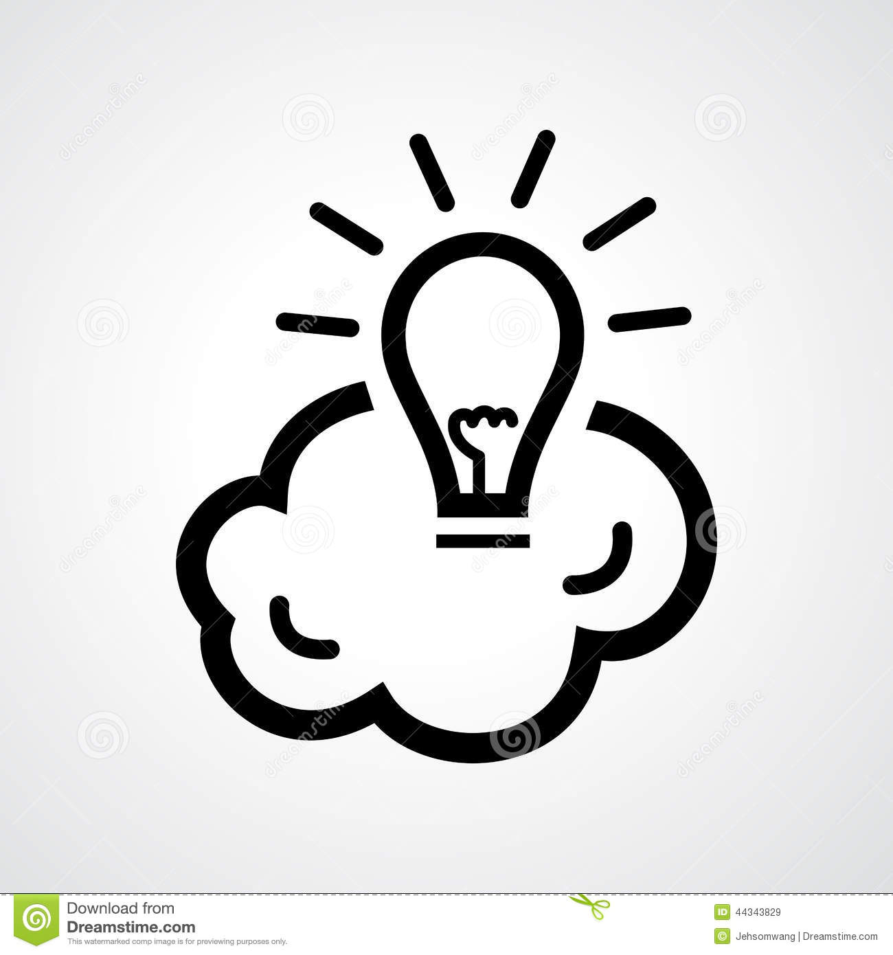 Light Bulb With Brain Stock Vector - Image: 44343829