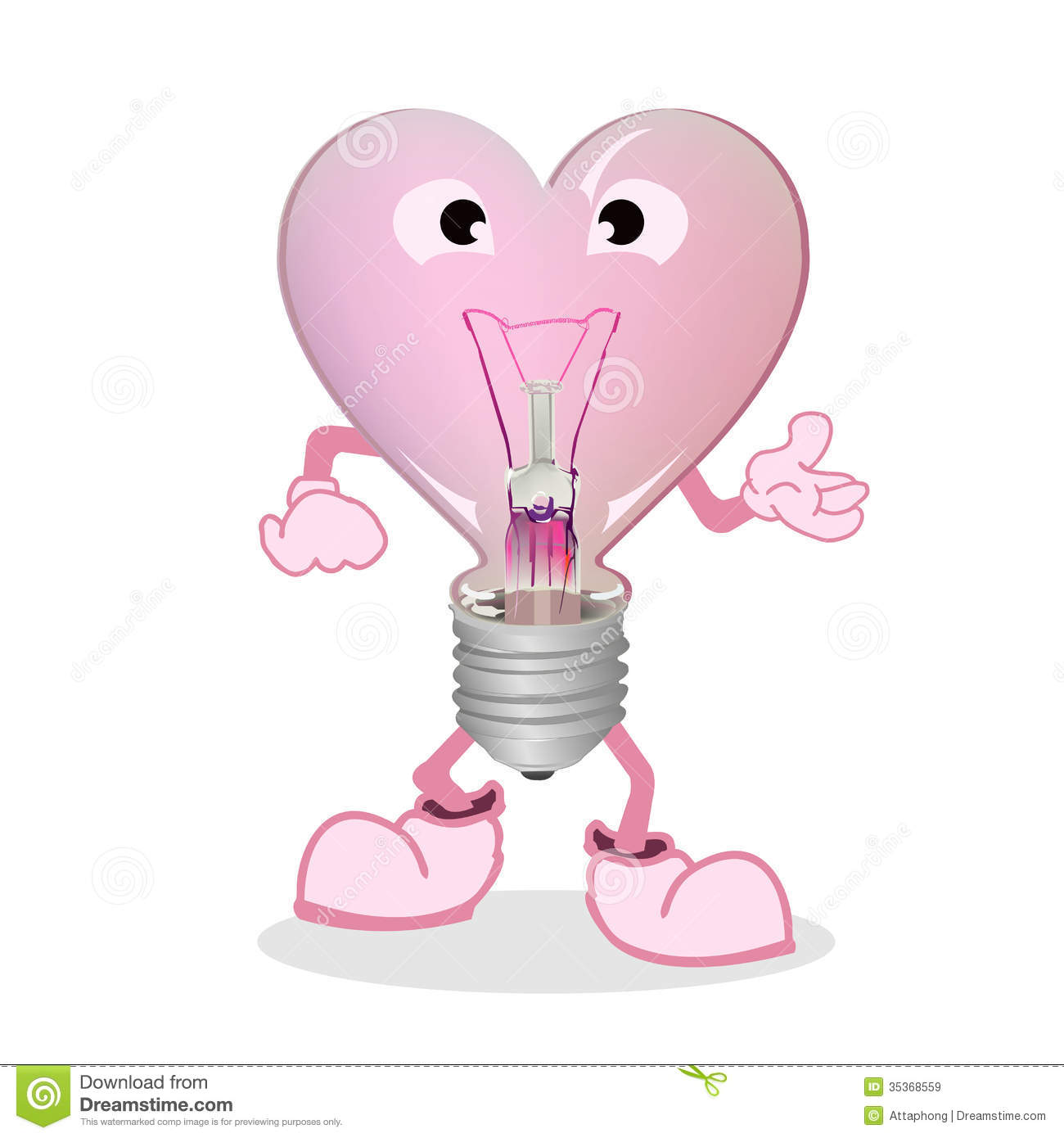 Light Bulb Cartoon Heart Royalty Free Stock Images - Image ...