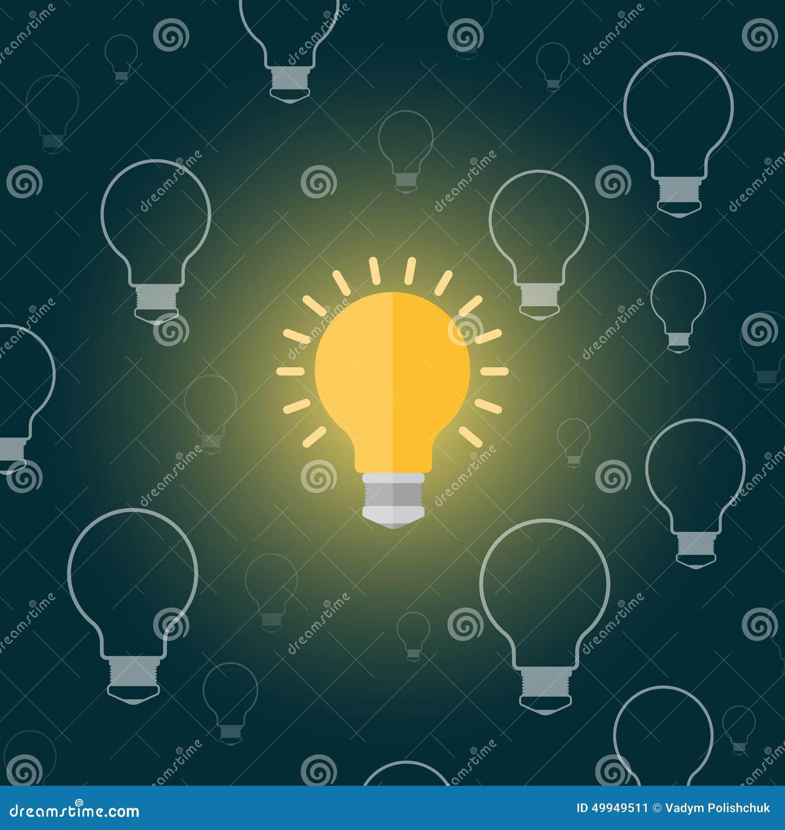 Light Bulb Wallpaper: Light Bulb In A Cartoon Style Flat On A Dark Background