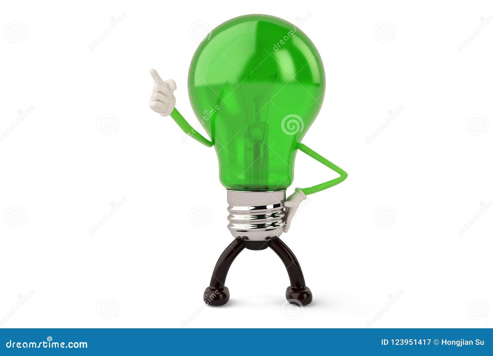 Light bulb character on white background 3D illustration